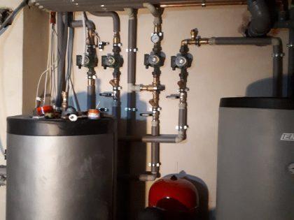 montaż pieca gazowego z kominkiem bufora cwu